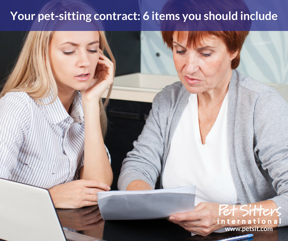 your pet sitting contract 6 items you should include
